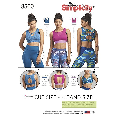 Simplicity Pattern 8560 Misses' Knit Sports Bras With Bodice Options SEWING PATTERN, Sizes - Sew Bra Sports