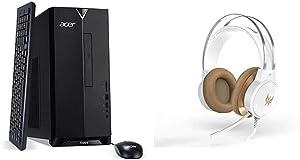 Acer Aspire TC-885-UA92 Desktop, 9th Gen Intel Core i5-9400, 12GB DDR4, 512GB SSD, 8X DVD, 802.11AC WiFi, USB 3.1 Type C, Windows 10 Home,Black with Predator Galea 300 White Gaming Headset