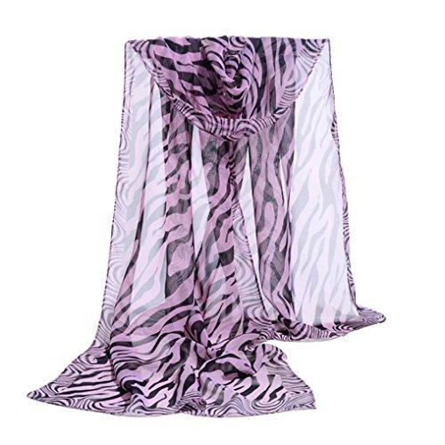 Purple Zebra Stripe - Deamyth Women Chiffon Scarf Zebra Stripe Prints Wrap Shawl Headscarf (Purple)