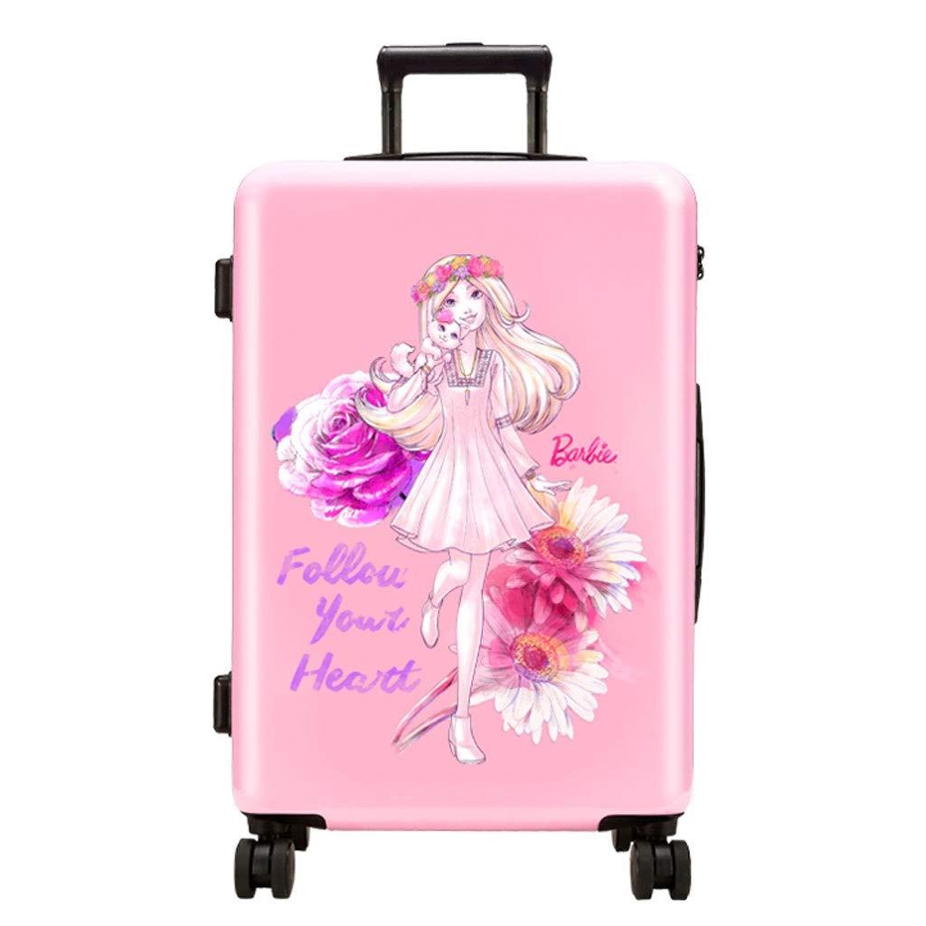 FRF トロリーケース- 女の子漫画トロリーケース赤ちゃん搭乗パスワードボックス、子供のユニバーサルホイールピンクスーツケース (色 : Pink B, サイズ さいず : 24in) 24in Pink B B07R1QK3XT