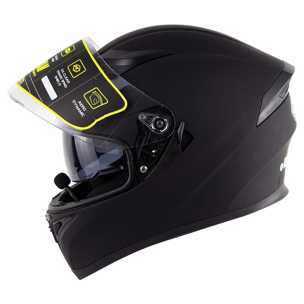 ZXF Bluetoothオートバイヘルメットダブルレンズオープンフェイスヘルメット電動オートバイヘルメット男性と女性のための Bluetoothヘッドセット安全ヘルメット通気性の快適さ - マットブラック - 大 安全 (Size : M) Medium  B07T7G44JF