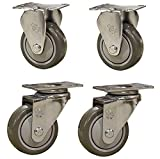 Service Caster – 3'' Gray Polyurethane Wheel – 2 Stainless Steel Swivel and 2 Stainless Steel Rigid Casters – Set of 4