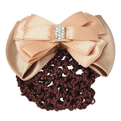 Ladies Hairnet Beige Rhinestone Inlaid Bowtie Hair Clip Snood Net L5F2