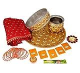 Ramya's Complete Karva Chauth kit - Thali, Chanani, Kalash, Katori, Diya, Chunni, Mehndi, Bangles and Puja items