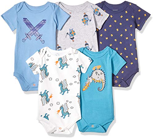 (Rosie Pope Kids' Toddler Baby 5-Pack Bodysuits, Knights, 0-3)