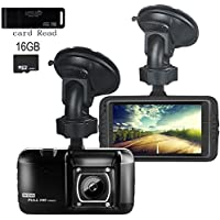 Dash Cam,EVASA Full HD 1080P with G-Sensor,Night Vision,WDR,Loop Recording,150° Wide Angle 3.0 LCD Dashboard Camera Recorder with 16GB Memory Card (Upgraded Version-Black)