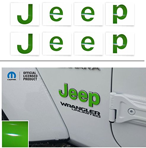 "Reflective Concepts""JEEP"" Fender Emblem Overlay Decal Stickers – 2018 Wrangler JL – (Color: Lime Green)"