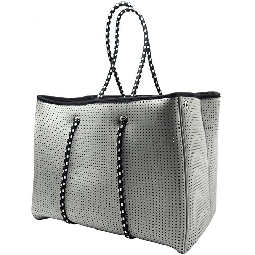 Neoprene Beach Bag tote - Large Daily Mesh Bag (Grey) by Penn & Soph by LAZY DOG WAREHOUSE