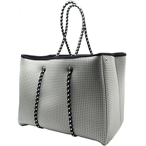 Neoprene Beach Bag tote - Large Daily Mesh Bag (Grey) by Penn & Soph by LAZY DOG WAREHOUSE