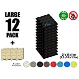 Arrowzoom New 12 Pack of (25 X 25 X 5cm) Soundproofing Pyramid Acoustic Foam Studio Absorbing Tiles Pads Wall Panels (BLACK)