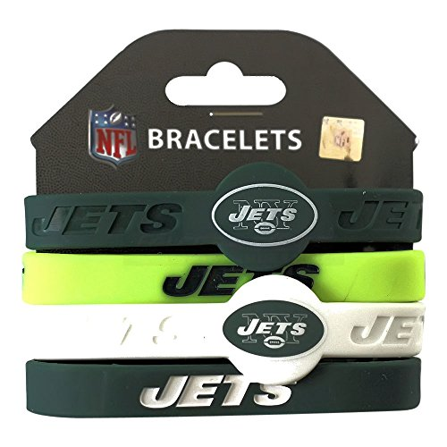 NFL New York Jets Silicone Rubber Wrist Band Bracelet , One Size, Multicolor