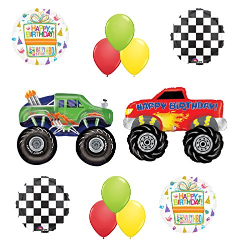Monster Truck Birthday Party Supplies and Balloon Bouquet Decorations