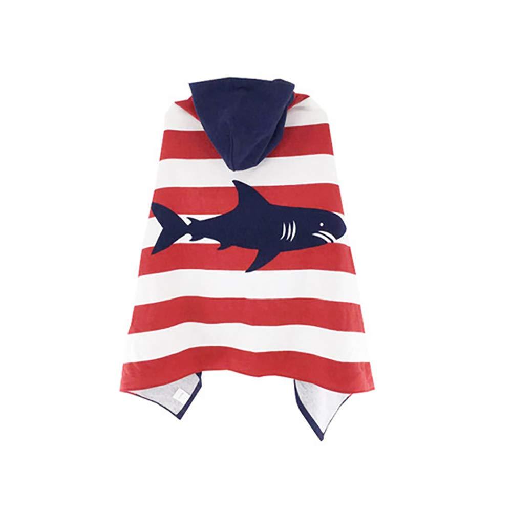 Echolife Kids Cartoon Sharks Hooded Beach Bath Towel Cotton Bathrobe for Boys Girls 7 to 12 Years Large Microfiber Ultra Soft Quick Dry Poncho Cape (Striped Sharks)