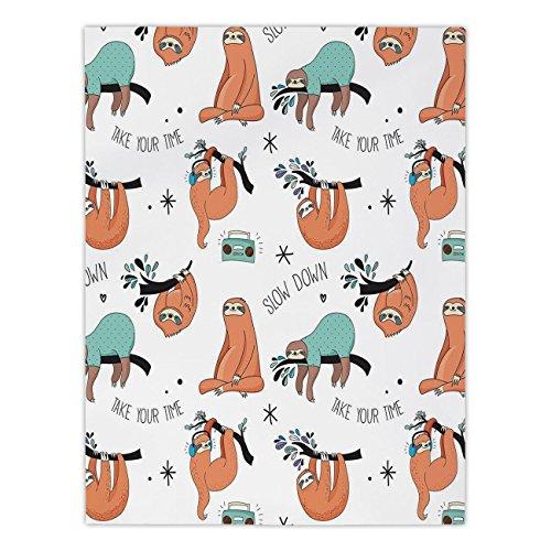 iPrint Mantel Rectangular de poliéster, diseño de Flores con Hojas Verdes para Acuario, Color Naranja, Verde, Comedor,...