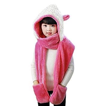 YJZQ Bonnet Chaud d hiver Bonnet Peluche Capuche avec des Oreilles aimables  Cagoule Enfant Combinaison 47e1ead585a