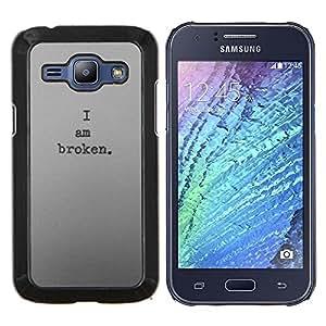 EJOOY---Cubierta de la caja de protección para la piel dura ** Samsung Galaxy J1 J100 ** --estoy oscuro y profundo roto deprimido triste