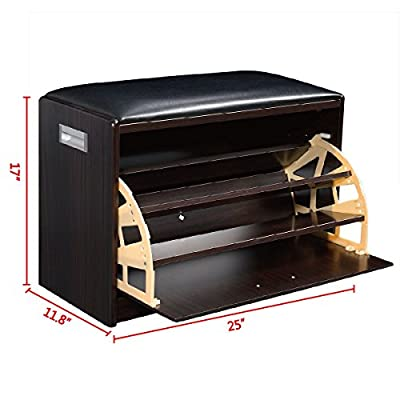 Wood Shoe Storage Bench Ottoman Cabinet Closet Shelf Entryway Multipurpose New