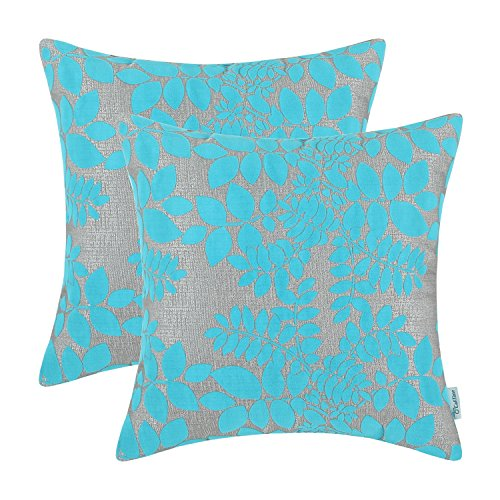 Pack 2, CaliTime Throw Pillow Covers 18 X 18 Inches, Flocking Cute Leaves, Grey Turquoise