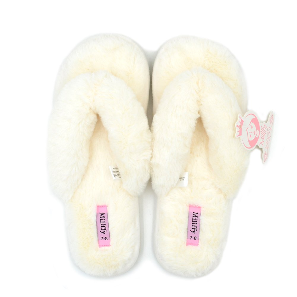 Millffy Spring Summer Women's Indoor Shoes Fashion Flax Home Lucy Refers to Flip Flops Fur Slippers (Women L US 9/10, Beige)