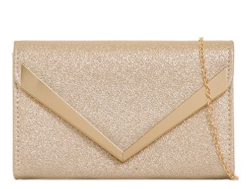 Women's Evening Faux Clutch Bag Gold Handbag Trim Arrow Strap Chain Leather 7xT7qaZY