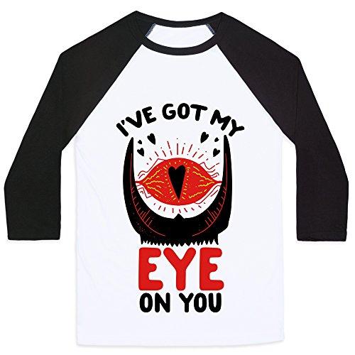 LookHUMAN I've Got My Eye on You White/Black XL Mens/Unisex Baseball Tee