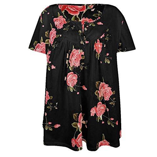NOBRAND camiseta de mujer nueva popular con cuello en V botón más tamaño impreso camiseta