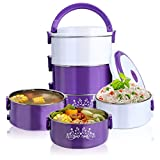 big thermos food jar - Large Insulated Thermos Food Jar,Stainless Steel Lunch Containers,Food Storage Containers/Food Carrier,Thermal Insulated Lunch Box, 3 Layers All Leak-Proof Lunch Jar,.3.0L (102 oz) Purple
