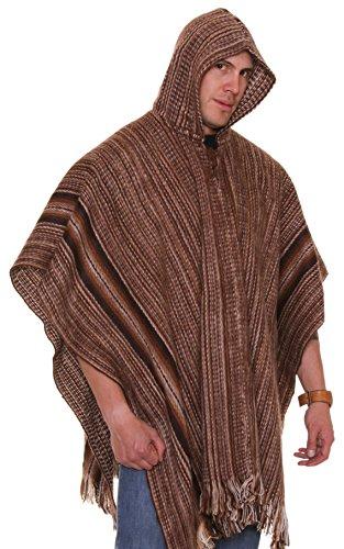 Gamboa Poncho - Brown Shades (Stripe Alpaca Poncho)