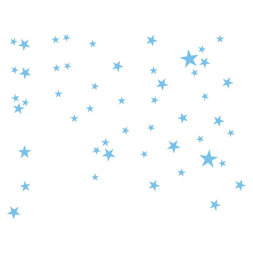 Homebaby Stickers Muraux--/Étoiles Stickers Muraux Dessin Anim/é Sticker Mural Amovible Sticker Muraux Autocollants Muraux Mural Stickers Chambre Enfants B/éb/é Garderie Salon Bleu Clair