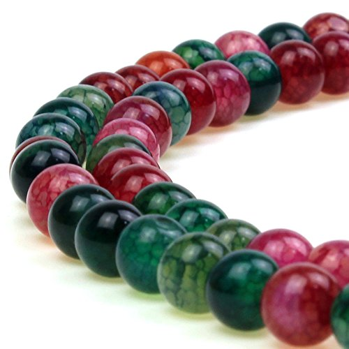 (JARTC 8mm Natural Multicolor Dragon Vein Agate Gemstone Round Loose Beads for Jewelry Making )