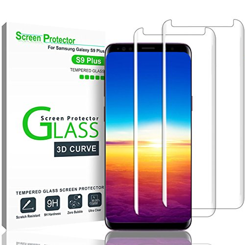 Galaxy S9 Plus Screen Protector,(2-PACK-Clear) 3D Curved Dot Matrix Full Screen Samsung Galaxy S9 PLUS Tempered Glass Screen Protector (6.2″) 2018 with Easy Application Tray (NOT S9) (Case Friendly)