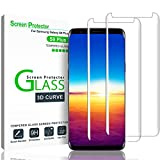 """Galaxy S9 Plus Screen Protector,(2-PACK-Clear) 3D Curved Dot Matrix Full Screen Samsung Galaxy S9 PLUS Tempered Glass Screen Protector (6.2"""") 2018 with Easy Application Tray (NOT S9) (Case Friendly)"""