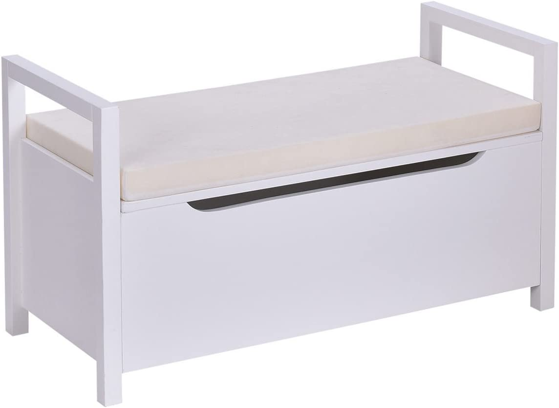 Giantex Shoe Storage Bench with Cushion, Entryway Storage Benches, End of Bed Bench for Bedroom, Wood Shoe Bench with Seat (White)