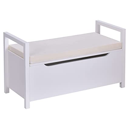 Giantex Storage Bench Shoes Rack W/Removable Seat Cushion Entryway Shoe  Cabinet Storage (White