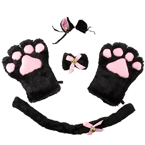 Cat Costume Cosplay Kitten Tail Ear Hairclip Collar Paws Gloves Anime Lolita Gothic Set (Neko Halloween Costumes)