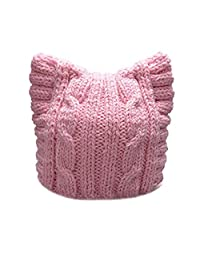 BIBITIME Handmade Knit Pussycat Hat Women's March Parade Cap Cat Ears Beanie
