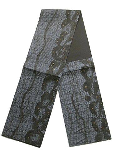 章悪い考古学的なリサイクル 袋帯 正絹 六通 墨絵 幾何学模様