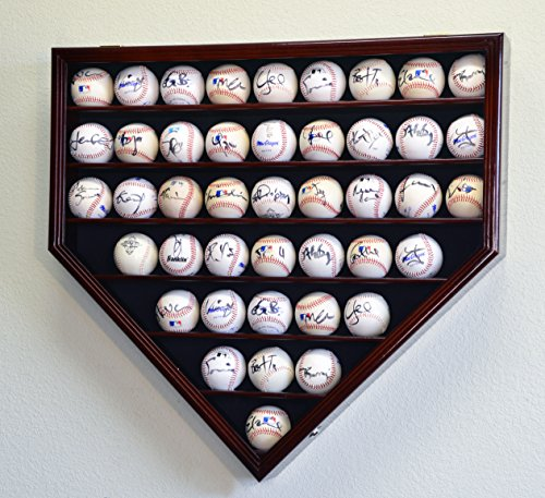43 Baseball Display Case Cabinet Holder Wall Rack Home Plate Shaped w/ UV Protection- Lockable -Cherry ()