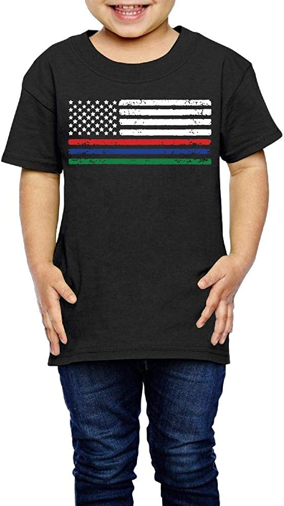 Kcloer24 Thin Red Blue Green Line American Flag Boys Girls Organic T-Shirt Graphic Tee 2-6 Years Old