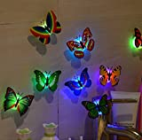 Indexp 3D DIY LED Butterfly, 10 Pieces Kids Bedroom Fairy Flashing Colorful Adhesive Glowing Lights Home Decoration Party Favours Toys