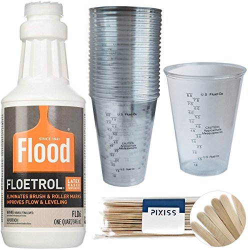 1 Quart Flood Floetrol Additive, 20x 10-Ounce Disposable Graduated Clear Plastic Cups for Mixing Paint, Stain, Epoxy, Resin, 20x 6-inch Pixiss Wood Mixing Sticks -  FLOOD/PPG, Pixiss, BDL-00193