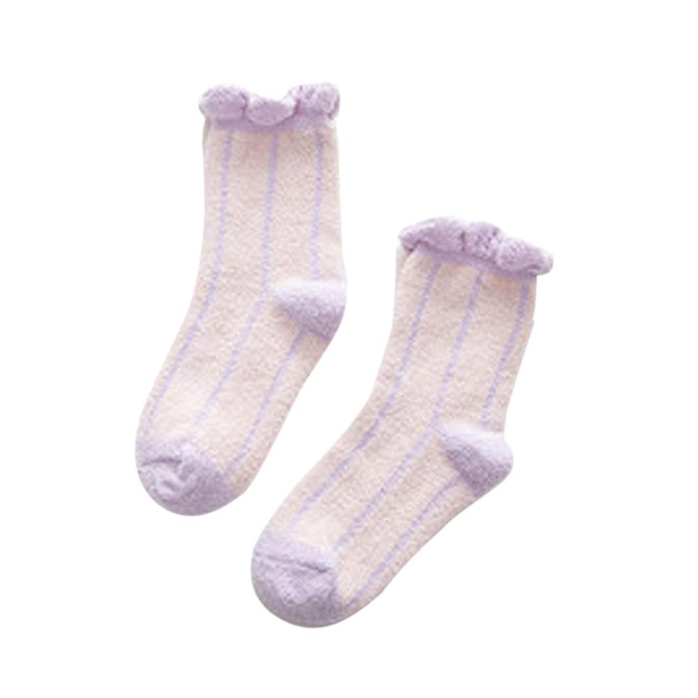 MaxFox Women Winter Warm Stripe Thick Non Slip Floor Socks Girls Cotton Cable Bow Coral Velvet Ankle Stock (Pink)