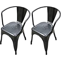 Titan Modern Metal Dining Room Stacking Chair - Set of 2 (Gunmetal)