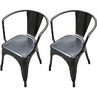 Titan Modern Metal Dining Room Stacking Chair - Set of 2 (Gunmetal)