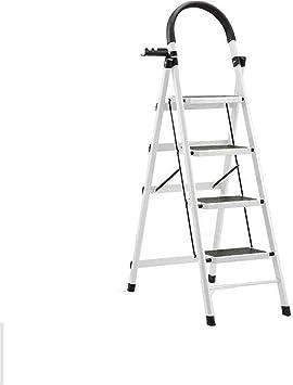 Escalera plegable escalera de acero de cuatro pasos, Escala de la construcción almacén de interior escaleras de tijera de productos básicos de tijera Azul Verde Blanco Rojo Rosa Multifuncional: Amazon.es: Bricolaje y