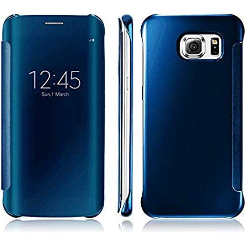 Samsung Galaxy S7 Edge Carrying Case Smart Clear View Mirror Flip Case Cover - Ularmo (Sky Blue) Sales