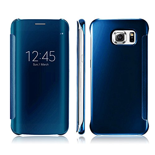 Galaxy S7 Edge Case,Doinshop 1PC Luxury Clear View Mirror Flip Smart Case Cover For Samsung Galaxy S7 Edge (sky blue)