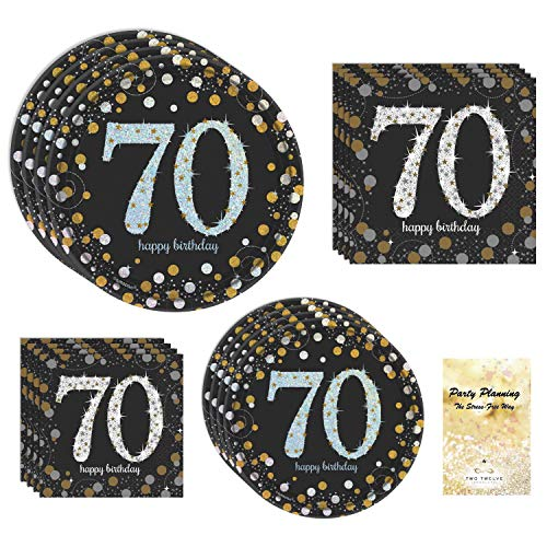 TwoTwelve Products 70th Birthday Party Supplies, Black and Gold, Sparkling Celebration Design, Bundle of 4 Items: Dinner Plates, Dessert Plates, Lunch Napkins and Beverage Napkins -
