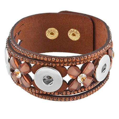 Souarts Femmes Bijoux Bracelet Strass Cuir PU pour Snap Bouton Pression de 5.5mm 22.5cm 1PC