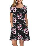 KORSIS Women's Summer Floral Dresses T Shirt Dress Flower Black 3XL